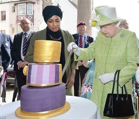 queen receives birthday cake  great british bake