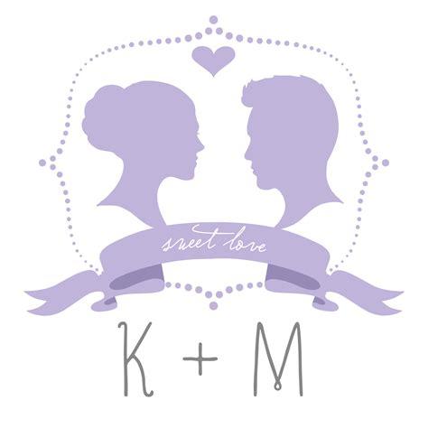 printable diy silhouette wedding monogram template