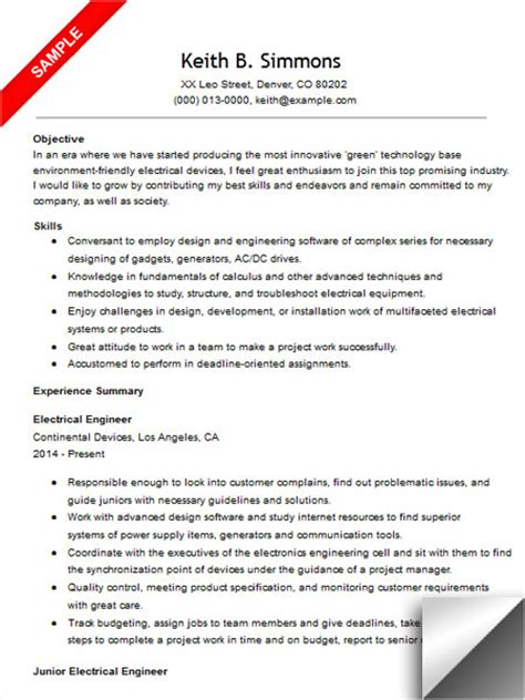 resume template for electrical engineers electrical engineer resume sle