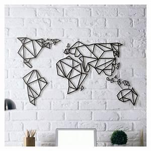 Tableau Du Monde : tableau d co en acier carte du monde couleur gris dimensions medium ~ Teatrodelosmanantiales.com Idées de Décoration