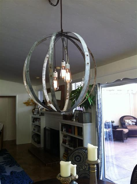 light fixture out of wine barrels and edison