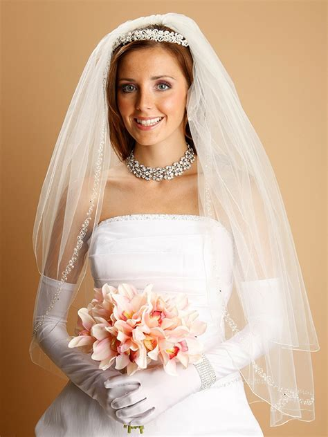 Wedding Veil With Swarovski Crystals And Pearls Hair