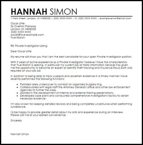 investigator cover letter sle livecareer