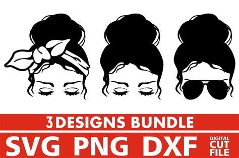 This is a digital file. 3x Women In Messy Bun Bundle svg, Glasses svg, Bandana svg ...