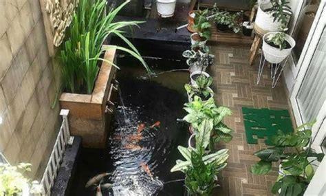 kolam ikan mungil  taman kecil rumah minimalis desain