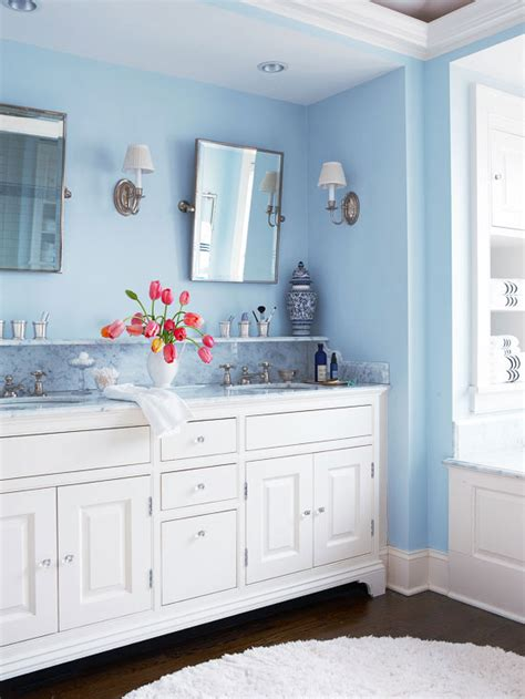 blue and white bathroom ideas white and blue bathroom design transitional bathroom bhg