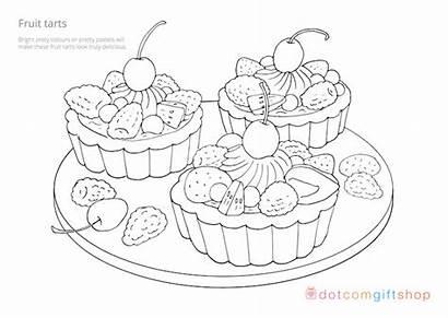 Colouring Baking Sheets Coloring Dotcomgiftshop Fruit Cake