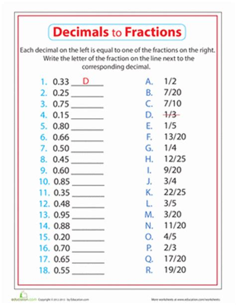 decimals to fractions worksheet education com