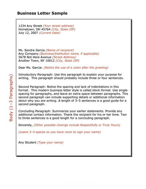 write  business letter  block format sample