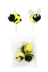 wedding party favor boxes pom pom bees with googly eye craft floral picks