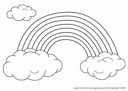 Rainbow Coloring Pages Printable Rainbows Clipart Clouds