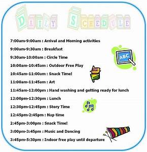 17 best ideas about daycare schedule on pinterest home With kindergarten timetable template
