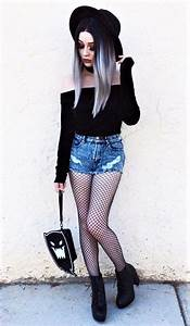 38 Awesome Wicca inspired Outfits | Bardot top Fishnet tights and Fishnet