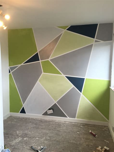 geometric painted wall grey silver powder blue apple green lime painting walls