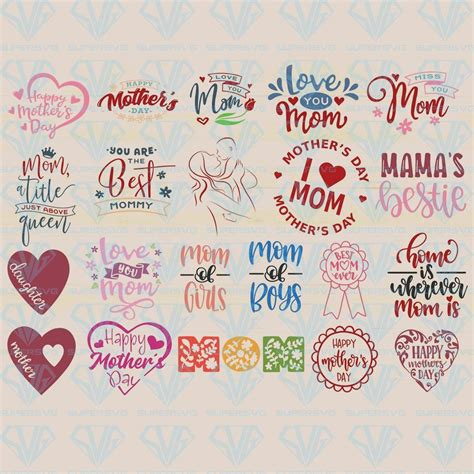Allows you to create your own crafting projects. Mothers's Day Bundle SVG Files For Silhouette, Files For ...