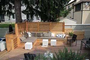 amenagement d39une terrasse de bois avec ecrans en bois de With amenagement d une terrasse