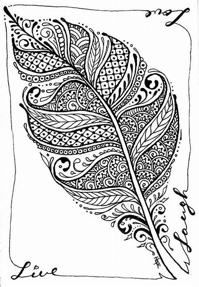 Plume Zen Coloring Line Laugh Feather Hope