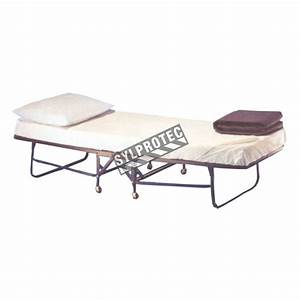 Folding bed cot with mattress and casters.