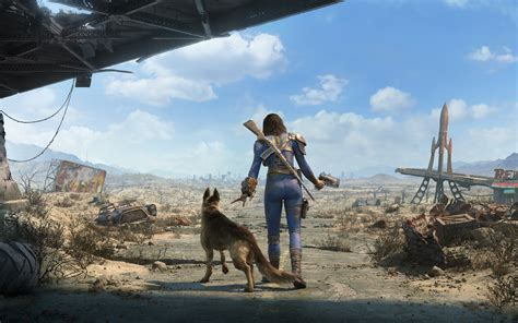 wallpaper fallout  female sole survivor dog games
