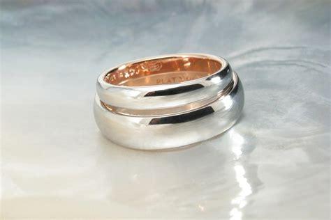 tone platinum rose gold wedding bands