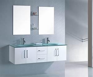 Meuble salle de bain suspendu wengé double vasque en verre
