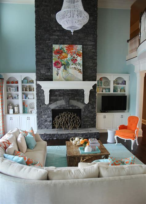 Orange Grey And Turquoise Living Room by Photos Buck Gross Hgtv