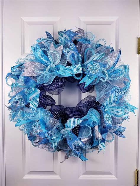 turquoise  blue wreath winter wreath  front door