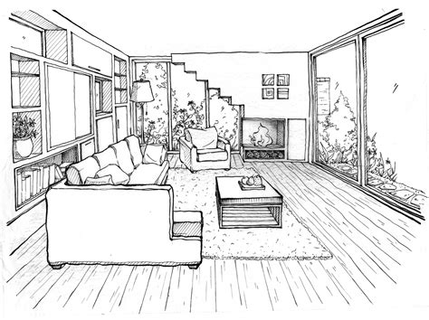 Drawing A Bedroom In Perspective by Room In Perspective Livingroomsummerstudio Perspective