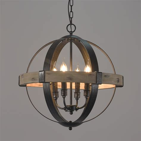 Style Lighting Chandeliers by Vintage Style Rustic Artcraft Wooden 4 Light Globe Shaped