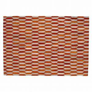tapis en cuir orange 160 x 230 cm lunel maisons du monde With tapis kilim avec canapé 20 fois sans frais