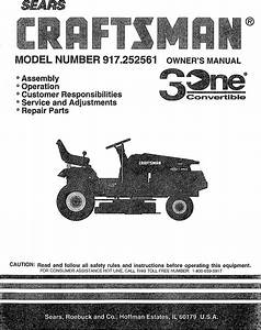 Craftsman 917252561 User Manual Tractor Manuals And Guides