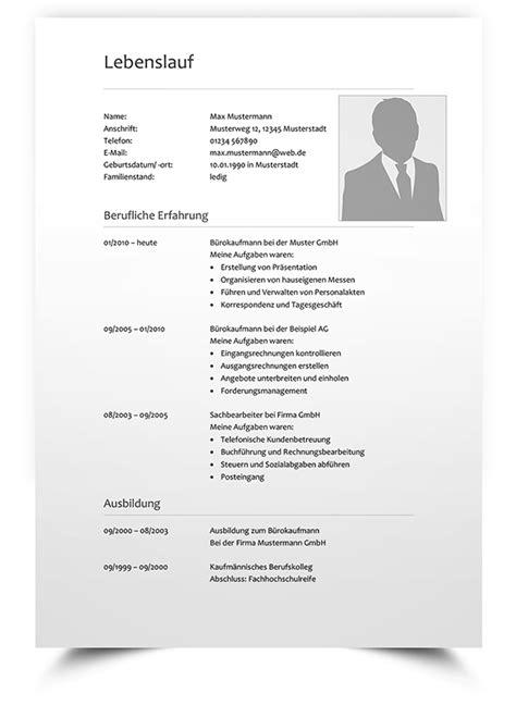 Lebenslauf Erstellen Vorlage by Lebenslauf Muster 7 Klassische Bewerbungsvorlage Word