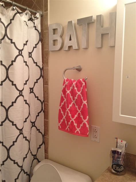 spray painted hobby lobby letters tj maxx shower curtain