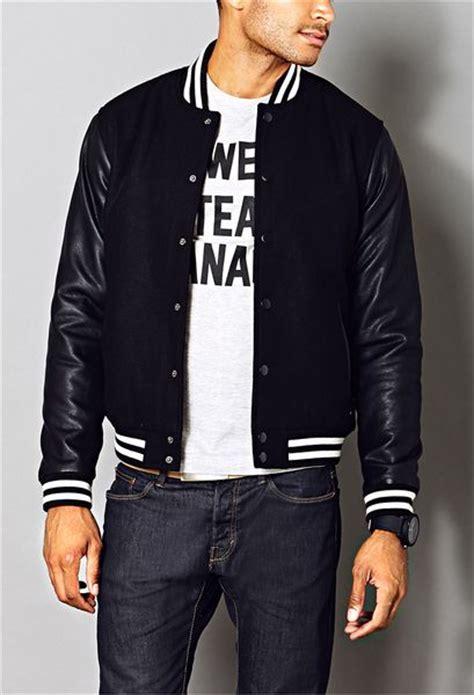 men fresh varsity jacket  black  men lyst