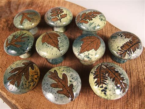 etsy mid century drawer pulls 10 ceramic cabinet knobs drawer pulls tree leaves unique in