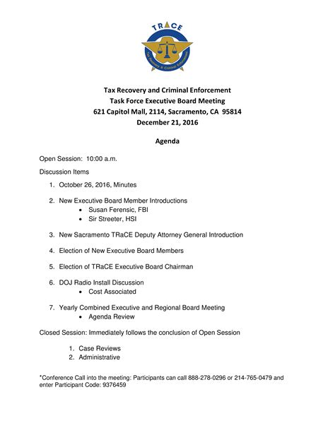 executive board meeting agenda templates
