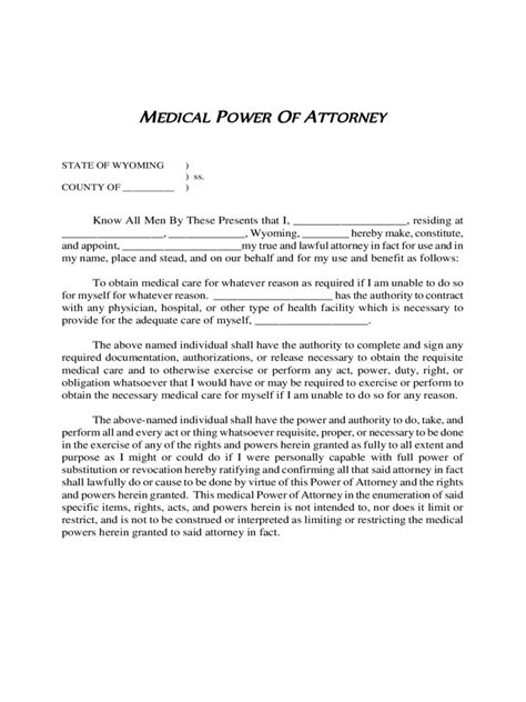 medical power  attorney form   templates