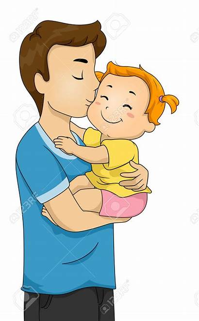 Father Daughter Dad Clipart Clip Kissing Cliparts