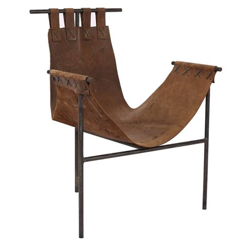 iron and saddle leather sling chair for sale at 1stdibs