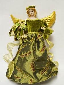 Battery Operated Picture Light Christmas Decorations Green Angel Tree Topper