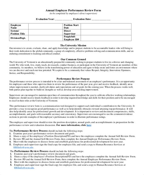 how to complete performance appraisal form 8 performance review exles sle templates