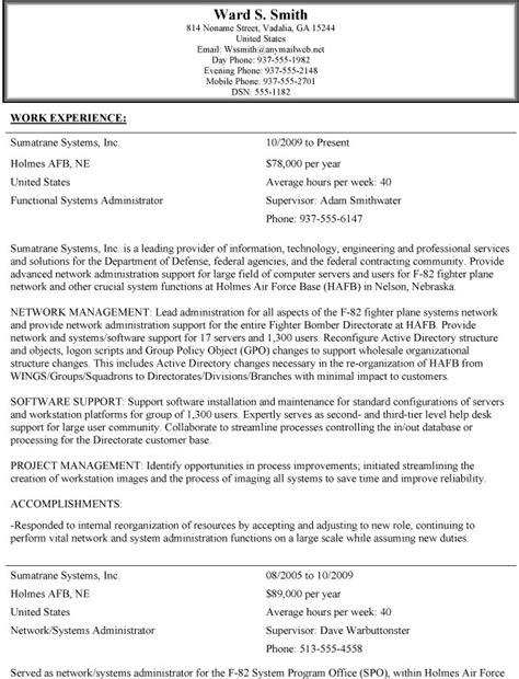 Resume Usa Exle by Federal Resume Exle 2015 Danetteforda