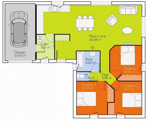 plan maison 90m2 3 chambres plan maison plain pied 3 chambres 90m2