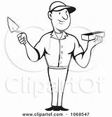 Trowel Mason Brick Coloring Clipart Outlined Holding Illustration Royalty Patrimonio Pages Pargeter Bricks Beside Handled Tool Illustrations Clipartof sketch template