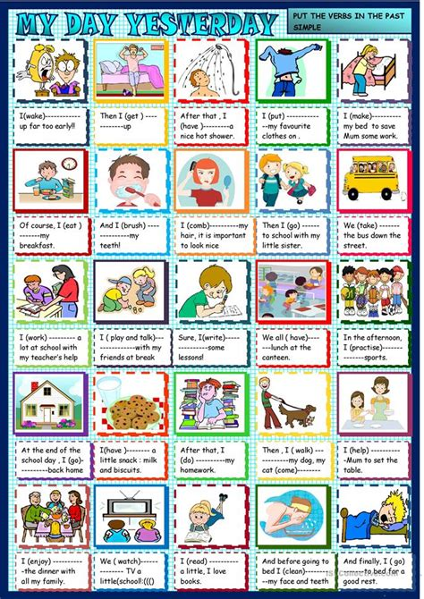 day yesterday  simple  daily routines worksheet