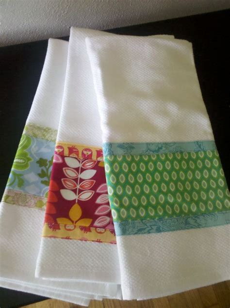 Kitchen Towel Fabric by Fabric Embellished Dish Towel Sew Projects Dish Towels