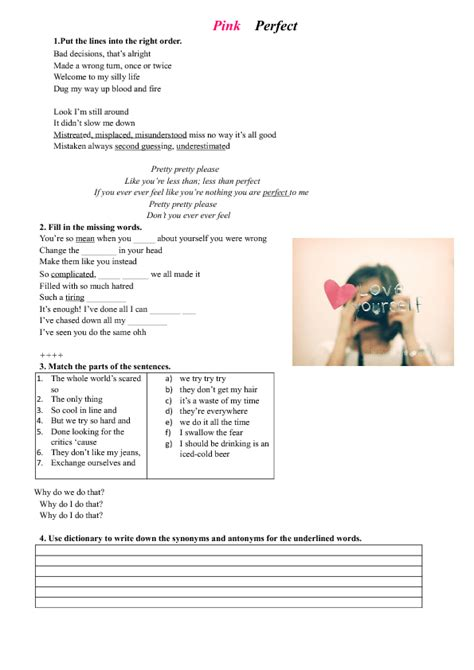 song worksheet perfect  pink personality  character