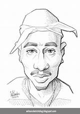 Caricature Sketch 2pac Tupac Drawing Coloring Wilsonsketchblog Template Larger Credit sketch template