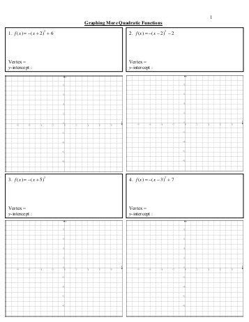 51 Study Guide And Intervention Graphing Quadratic Functions Quia