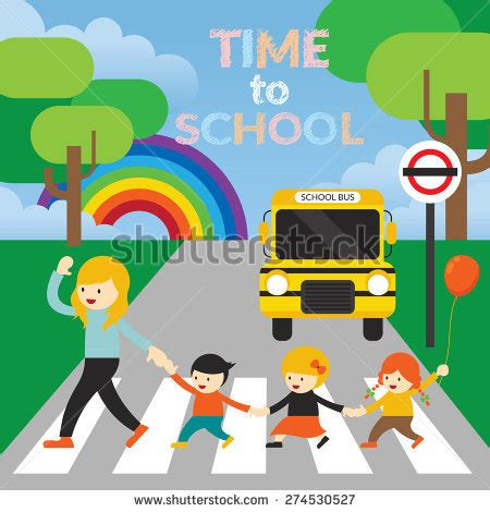 crossing stock images royalty free images 762 | stock vector teacher lead kids cross the street to school kindergarten preschool education learning and 274530527